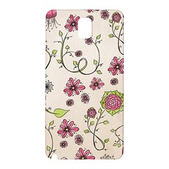 Pink Whimsical flowers on beige Samsung Galaxy Note 3 N9005 Hardshell Back Case