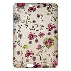Pink Whimsical Flowers On Beige Kindle Fire Hd 7  (2nd Gen) Hardshell Case