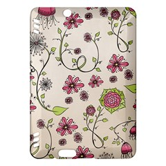 Pink Whimsical Flowers On Beige Kindle Fire Hdx 7  Hardshell Case