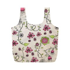 Pink Whimsical flowers on beige Reusable Bag (M)