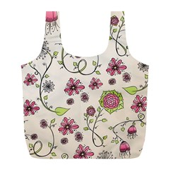 Pink Whimsical flowers on beige Reusable Bag (L)
