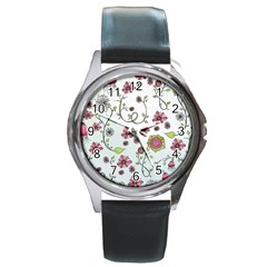 Pink whimsical flowers on blue Round Leather Watch (Silver Rim)