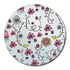 Pink whimsical flowers on blue 8  Mouse Pad (Round)