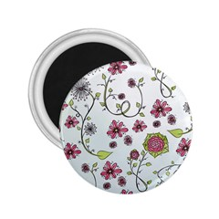 Pink Whimsical Flowers On Blue 2 25  Button Magnet