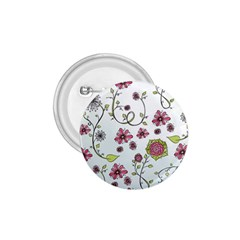 Pink whimsical flowers on blue 1.75  Button