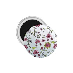 Pink whimsical flowers on blue 1.75  Button Magnet