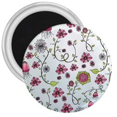 Pink whimsical flowers on blue 3  Button Magnet