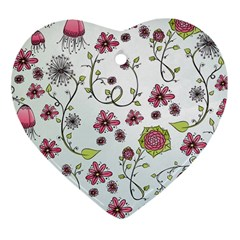 Pink Whimsical Flowers On Blue Heart Ornament