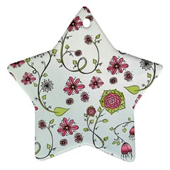 Pink Whimsical Flowers On Blue Star Ornament