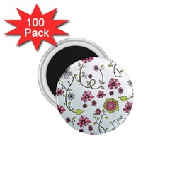 Pink whimsical flowers on blue 1.75  Button Magnet (100 pack)
