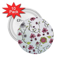 Pink whimsical flowers on blue 2.25  Button (10 pack)
