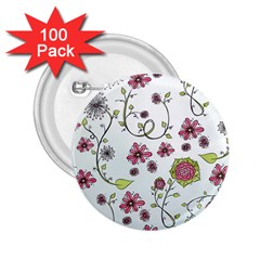 Pink whimsical flowers on blue 2.25  Button (100 pack)