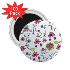 Pink whimsical flowers on blue 2.25  Button Magnet (100 pack)