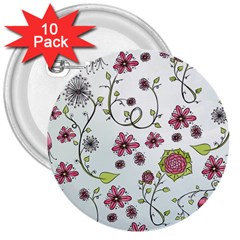 Pink Whimsical Flowers On Blue 3  Button (10 Pack)