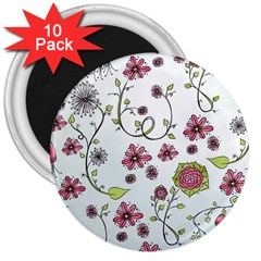 Pink Whimsical Flowers On Blue 3  Button Magnet (10 Pack)