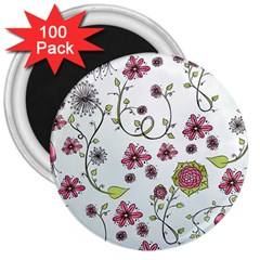 Pink whimsical flowers on blue 3  Button Magnet (100 pack)