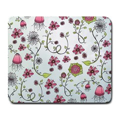 Pink Whimsical Flowers On Blue Large Mouse Pad (rectangle)
