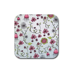 Pink Whimsical Flowers On Blue Drink Coaster (square)