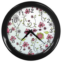 Pink whimsical flowers on blue Wall Clock (Black)