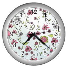 Pink Whimsical Flowers On Blue Wall Clock (silver)