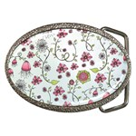 Pink whimsical flowers on blue Belt Buckle (Oval) Front