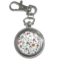 Pink whimsical flowers on blue Key Chain Watch