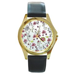 Pink Whimsical Flowers On Blue Round Leather Watch (gold Rim)