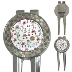 Pink whimsical flowers on blue Golf Pitchfork & Ball Marker