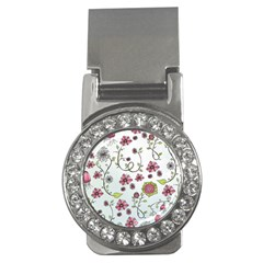 Pink whimsical flowers on blue Money Clip (CZ)