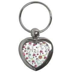 Pink whimsical flowers on blue Key Chain (Heart)