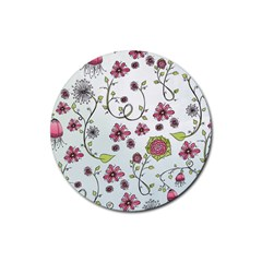 Pink whimsical flowers on blue Drink Coaster (Round)