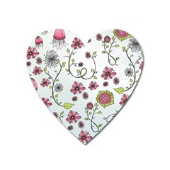 Pink whimsical flowers on blue Magnet (Heart)