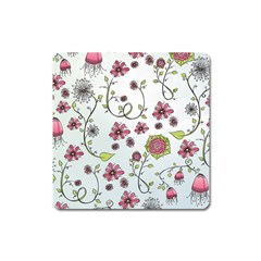 Pink Whimsical Flowers On Blue Magnet (square)