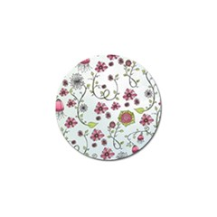 Pink whimsical flowers on blue Golf Ball Marker 4 Pack