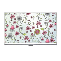 Pink whimsical flowers on blue Business Card Holder