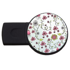 Pink whimsical flowers on blue 2GB USB Flash Drive (Round)