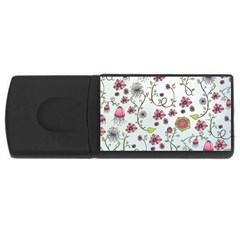 Pink whimsical flowers on blue 2GB USB Flash Drive (Rectangle)