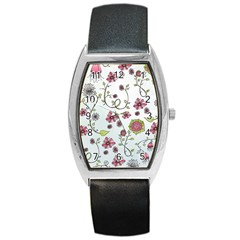 Pink whimsical flowers on blue Tonneau Leather Watch