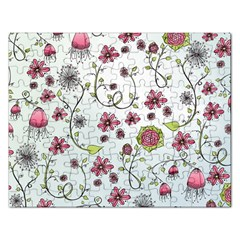 Pink whimsical flowers on blue Jigsaw Puzzle (Rectangle)