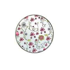 Pink whimsical flowers on blue Golf Ball Marker 4 Pack (for Hat Clip)