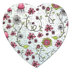Pink whimsical flowers on blue Jigsaw Puzzle (Heart)