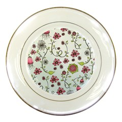 Pink whimsical flowers on blue Porcelain Display Plate
