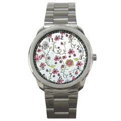 Pink whimsical flowers on blue Sport Metal Watch