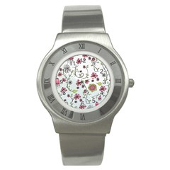 Pink Whimsical Flowers On Blue Stainless Steel Watch (slim)