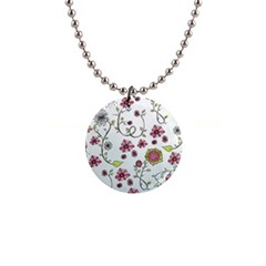 Pink whimsical flowers on blue Button Necklace