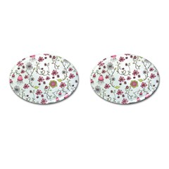 Pink whimsical flowers on blue Cufflinks (Oval)