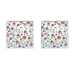 Pink Whimsical Flowers On Blue Cufflinks (square)
