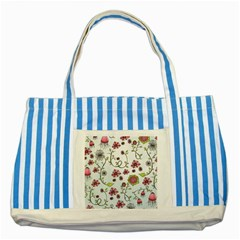 Pink whimsical flowers on blue Blue Striped Tote Bag