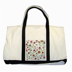 Pink whimsical flowers on blue Two Toned Tote Bag