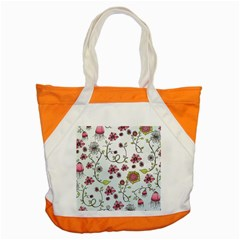Pink Whimsical Flowers On Blue Accent Tote Bag